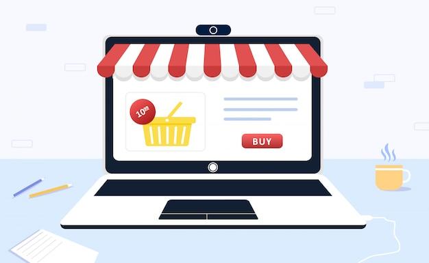 Las compras en línea. el catálogo de productos en la página del navegador web. cesta de la compra. ilustración moderna en estilo.