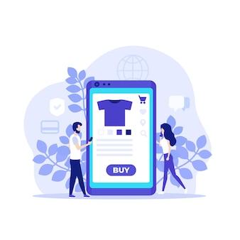 Compras en línea, comercio electrónico, compra en línea con aplicación móvil, ilustración con personas