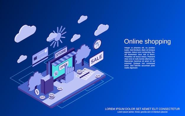 Compras en línea, comercio electrónico, ilustración de concepto isométrico plano de comercio distante