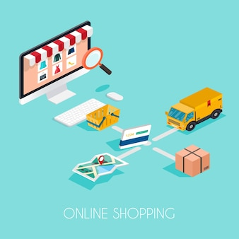 Las compras en línea. comercio electrónico isométrico, comercio electrónico, pago, entrega, concepto de infografía del proceso de envío.