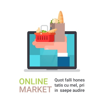 Las compras en línea de comestibles y la entrega de alimentos con la mano que sostiene la bolsa llena de productos de la computadora portátil