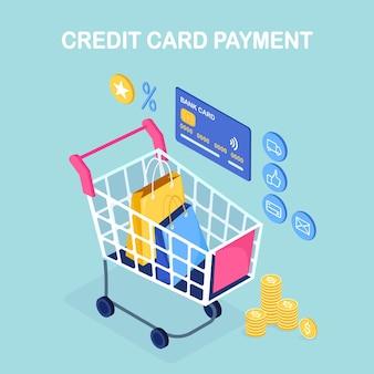 Las compras en línea. compra en tienda minorista por internet. venta de descuento. carro isométrico, carro con dinero