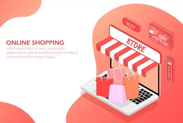 Las compras en línea. comprar en tienda online
