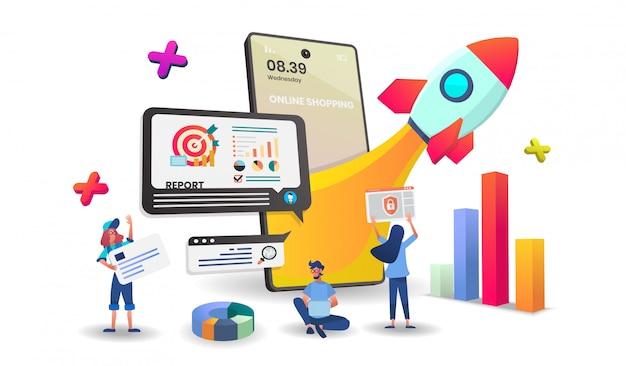 Compras en línea en concepto de aplicación móvil digital