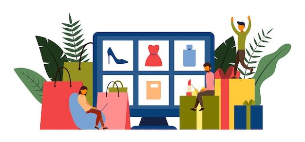 Compras en línea, concepto de comercio electrónico con ilustración de personaje