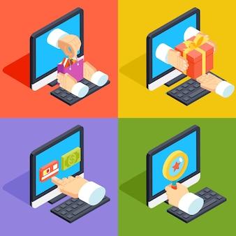Compras en línea y concepto de comercio electrónico isométrico estilo plano 3d. pago web, compra y compra, marketing de tecnología comercial,