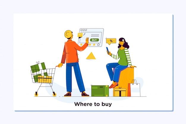 Las compras en línea. concepto de comercio electrónico y servicio de entrega.