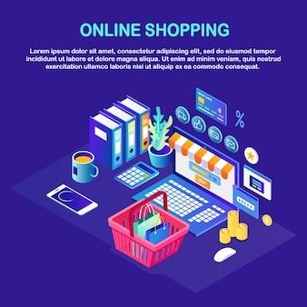 Compras en línea, concepto de venta. compra en tienda minorista por internet. computadora isométrica, canasta, dinero