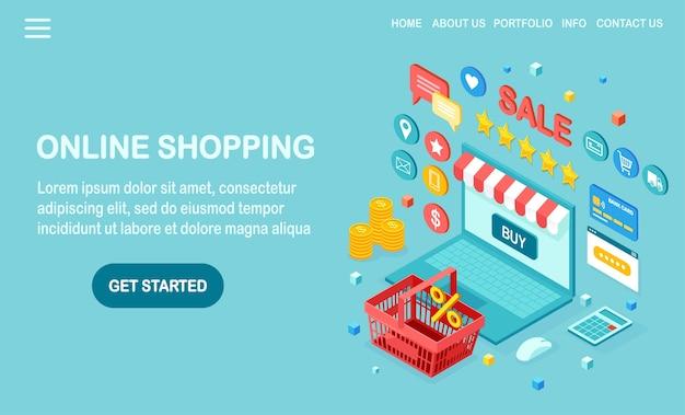Compras en línea, concepto de venta. compra en tienda minorista por internet. computadora isométrica, computadora portátil con canasta, dinero, tarjeta de crédito, revisión del cliente, estrella de comentarios, calculadora. para banner web