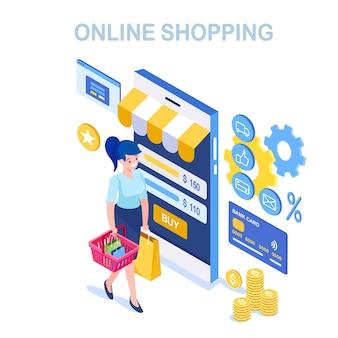 Compras en línea, concepto de venta. compra en tienda minorista por internet. mujer isométrica con canasta, bolso, teléfono móvil, teléfono inteligente, dinero, tarjeta de crédito