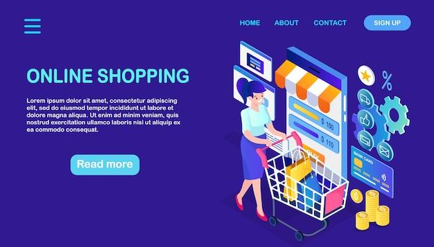 Compras en línea, concepto de venta. compra en tienda minorista por internet. mujer isométrica con carro, bolso con ruedas, teléfono móvil, teléfono inteligente, dinero, tarjeta de crédito