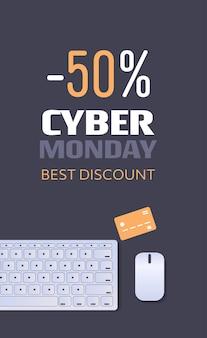 Compras en línea cyber monday venta descuento de vacaciones cartel concepto de comercio electrónico vista de ángulo superior vertical