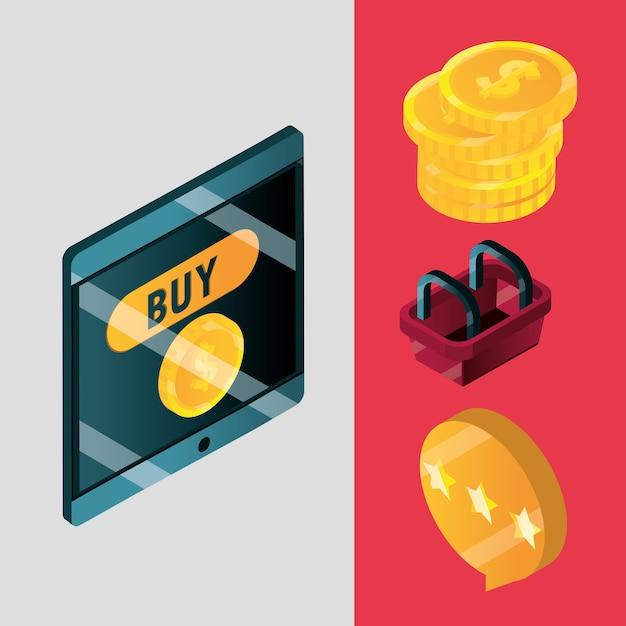 Compras en línea, dinero de teléfono móvil y cesta de mercado banner ilustración vectorial isométrica