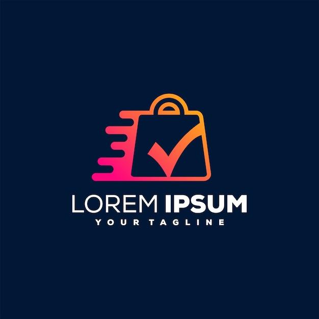 Compras en línea diseño de logotipo degradado