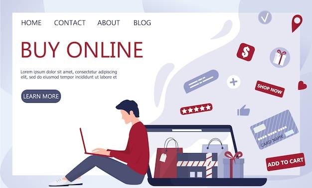 Compras en línea mediante dispositivos. banner web de tecnología moderna, internet y comercio electrónico. tecnología de marketing móvil y ppc. atención al cliente y entrega. ilustración