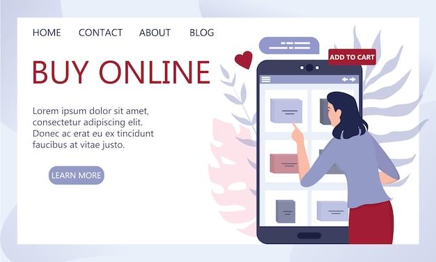Compras en línea mediante dispositivos. banner web de tecnología moderna, internet y comercio electrónico. tecnología de marketing móvil y ppc. atención al cliente y entrega.