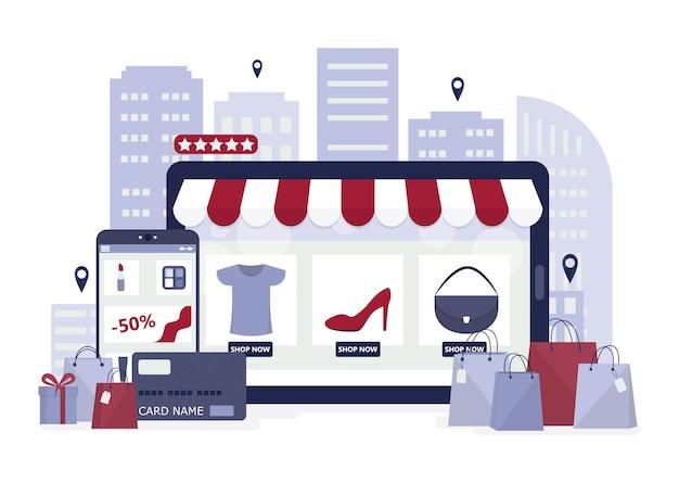 Compras en línea mediante dispositivos. tecnología moderna, internet y comercio electrónico