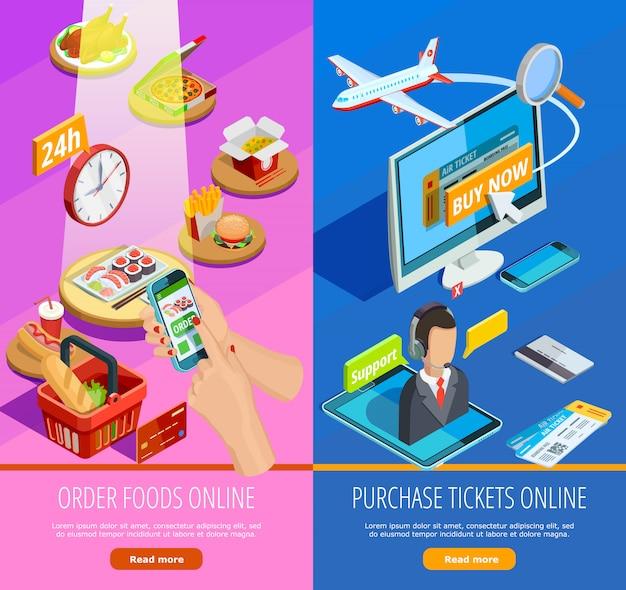Compras en línea e-commerce banners isométricos