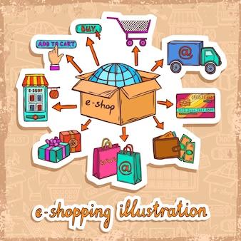 Compras en línea e-commerce móvil en línea proceso de compra boceto pegatina concepto de diseño ilustración vectorial