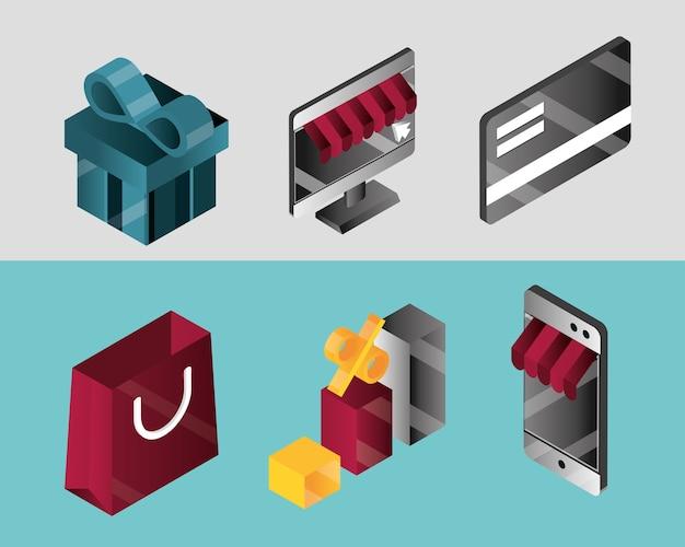 Compras en línea, establecer iconos regalo tarjeta bancaria bolsa smartphone tienda descuento vector ilustración isométrica