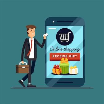 Compras en línea estilo conceptual de negocios.