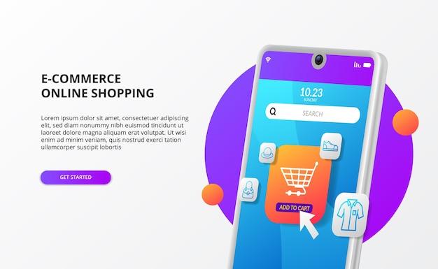 Compras en línea, haga clic en comprar en el concepto de página de destino de comercio electrónico móvil promoción de marketing digital ilustración de teléfono 3d