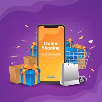 Compras en línea con ilustración de aplicación móvil para web y banner de aplicación
