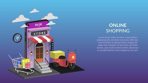 Compras en línea en ilustración móvil para aplicaciones web o móviles