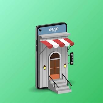 Compras en línea en ilustración móvil para comercio electrónico web y aplicaciones móviles