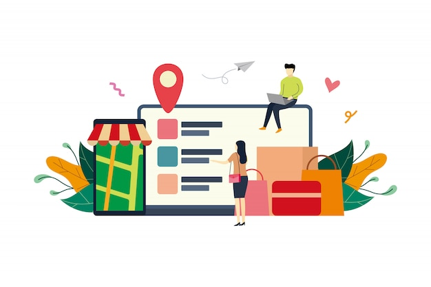 Compras en línea, ilustración plana del mercado de comercio electrónico con personas pequeñas