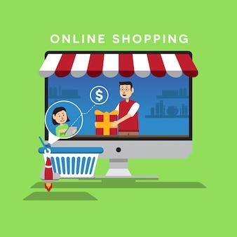 Compras en línea ilustración plana