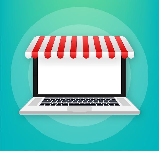 Compras en línea en la ilustración del sitio web