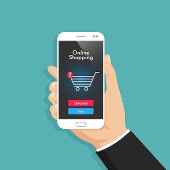 Compras en línea con ilustración de teléfono inteligente.