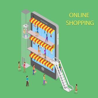 Compras en línea isométrica