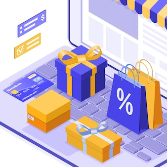 Compras en línea isométricas, entrega, concepto de logística. portátil con bolsa de entrega de productos en línea, regalo, tarjeta de crédito. compras por internet 24h a domicilio. aislado