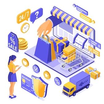 Compras en línea isométricas, entrega, concepto de logística. portátil con bolsa de mano, entrega en línea de productos, niña, regalo, tarjeta de crédito. compras por internet 24h a domicilio. aislado