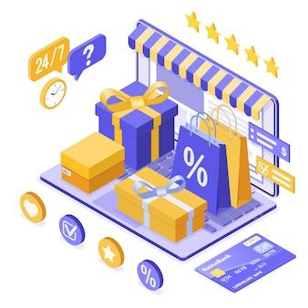 Compras en línea isométricas, entrega, concepto de logística.