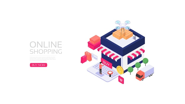 Compras en línea isométricas, servicio de entrega en línea.