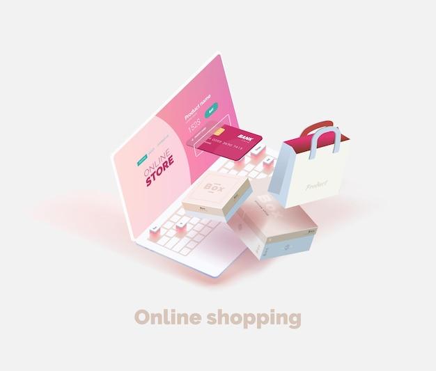 Compras en línea laptop en una mesa con elementos voladores cajas bolsa de compras poraki