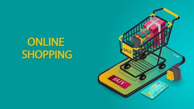 Compras en línea en marketing digital y concepto de aplicaciones móviles