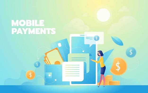 Compras en línea moderna ilustración plana. pagos moviles