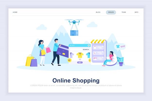 Las compras en línea moderna página de destino plana