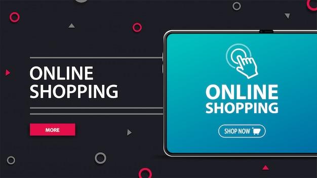 Compras en línea, moderno banner gris con título grande, botón y tableta de gran volumen con el logotipo de la tienda en la pantalla