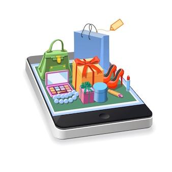 Compras en línea móvil del concepto de accesorios de mujer. cajas de regalo, pomada, zapatos, bolso