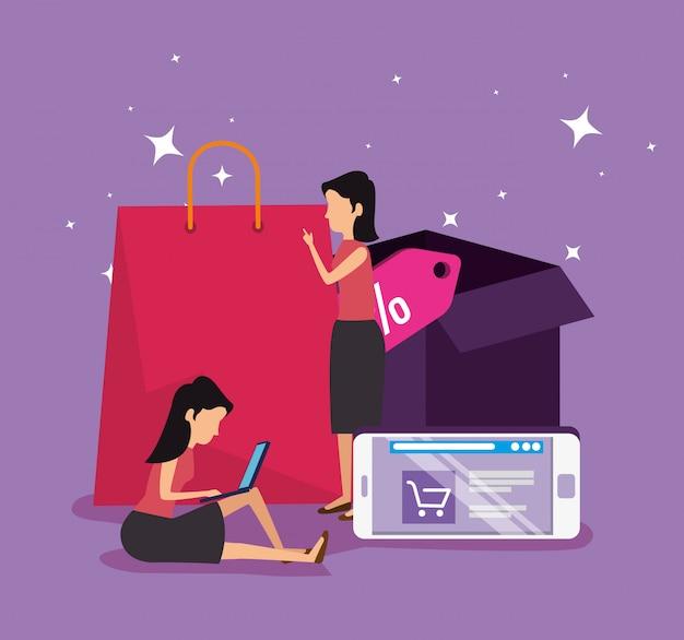 Compras en línea y mujeres con comercio electrónico en teléfonos inteligentes