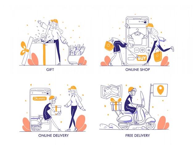 Compras en línea o concepto de comercio electrónico en estilo moderno de diseño dibujado a mano. bolsa de compras, carrito, troli, regalo, premio, entrega en línea, entrega gratuita, pago en línea, tienda, ilustración de la tienda