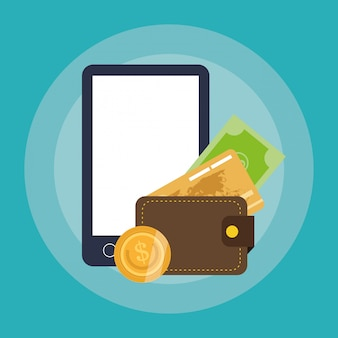 Compras en línea o iconos relacionados con el comercio electrónico