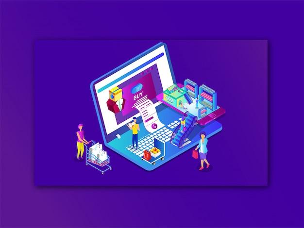 Compras en línea o pago desde una computadora portátil y un teléfono inteligente