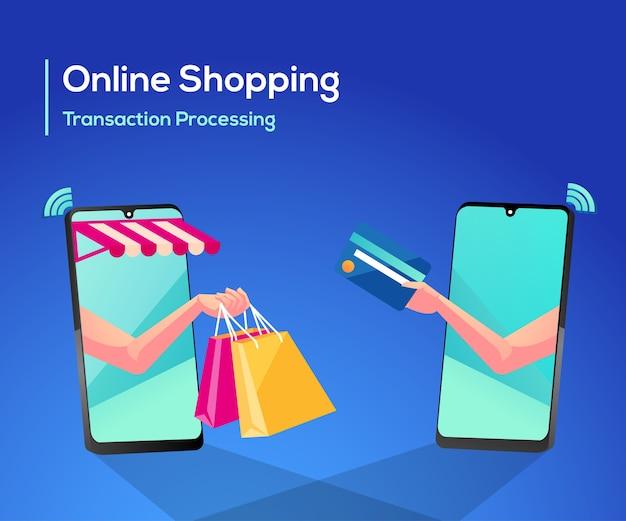 Compras en línea o procesamiento de transacciones en línea