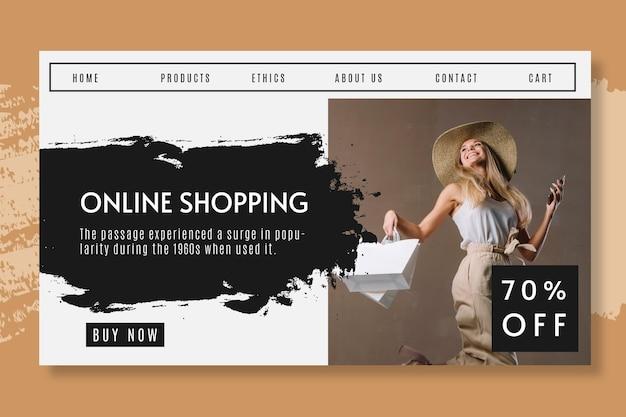 Compras en línea con página de destino con descuento